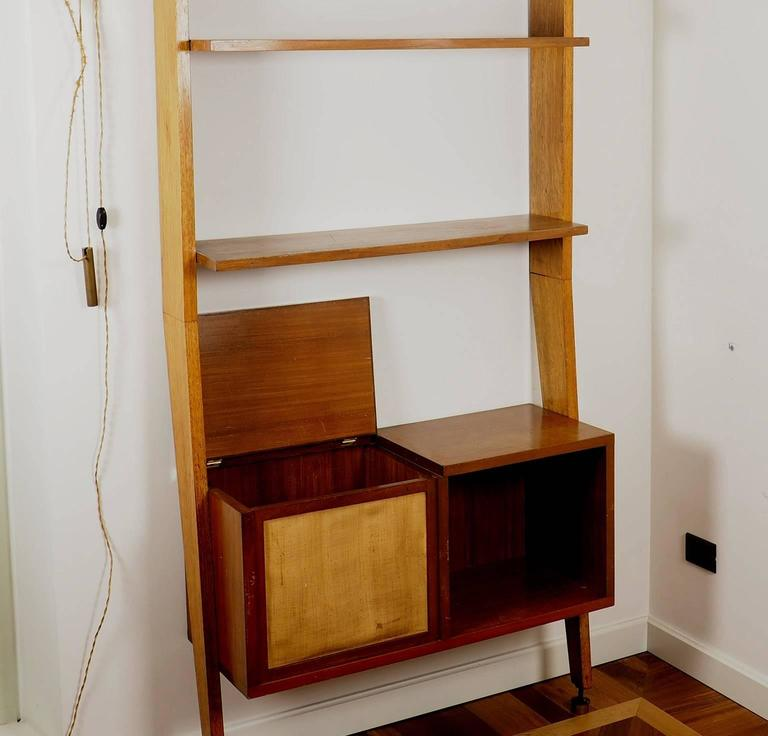 Mid-20th Century Midcentury Wood and Brass Bookcase designed  by Augusto Romano, Italy 1950s For Sale