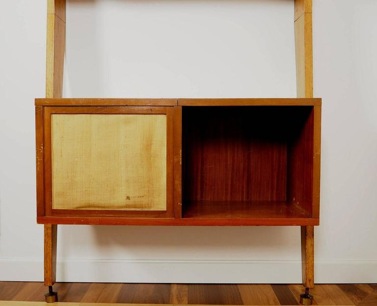 Midcentury Wood and Brass Bookcase designed  by Augusto Romano, Italy 1950s For Sale 1