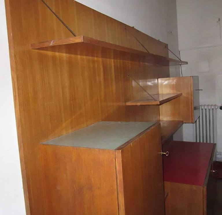 Brass Italian Large Wood Bookcase Designed for a Private Commission in Milano, 1950s For Sale