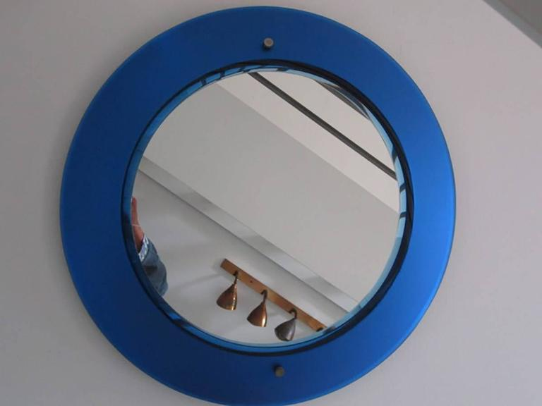 Italian Rare Blue Mirror by Max Ingrand for Fontana Arte, Milano ...