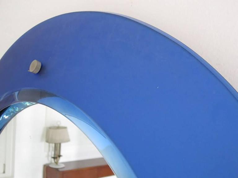Glass Italian Rare Blue Mirror by Max Ingrand for Fontana Arte, Milano, 1950s For Sale