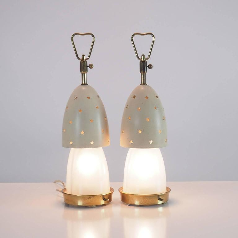 """Pair of Arredoluce Table Lamps """"Stelline"""" designed by Angelo Lelli Milano 1950s  3"""