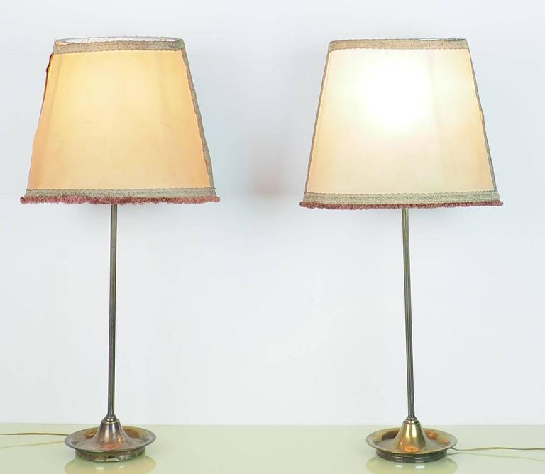 Pair of Large Table Lamps Brass with Bifronte lampshades by Chiarini Milano 1950 For Sale 1