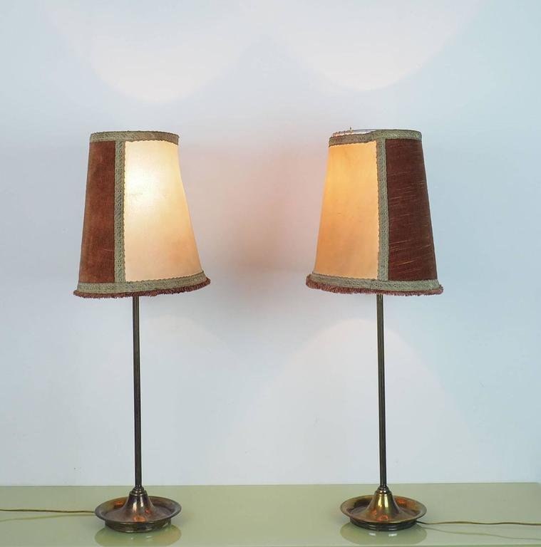 Pair of Large Table Lamps Brass with Bifronte lampshades by Chiarini Milano 1950 In Good Condition For Sale In Milano, IT