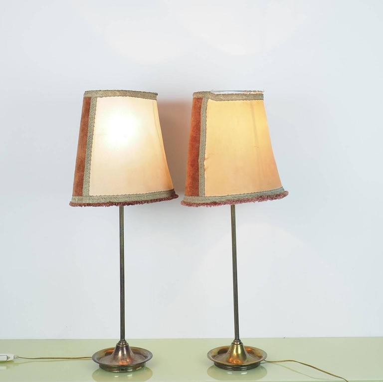 Italian Pair of Large Table Lamps Brass with Bifronte lampshades by Chiarini Milano 1950 For Sale
