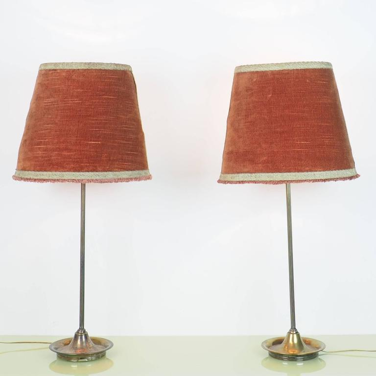Pair of Large Table Lamps Brass with Bifronte lampshades by Chiarini Milano 1950 For Sale 2