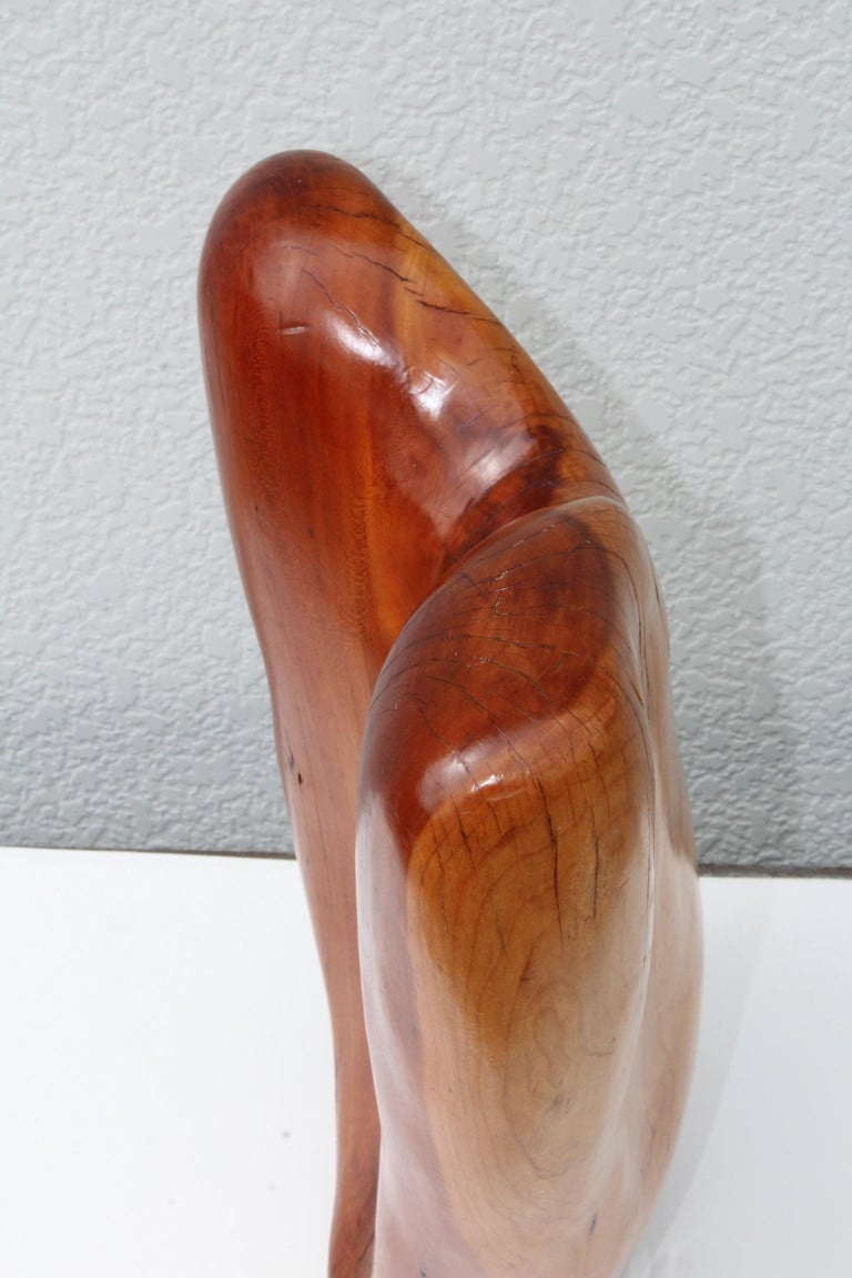 Mid-Century Modern Abstract Carved Wood Sculpture For Sale 2