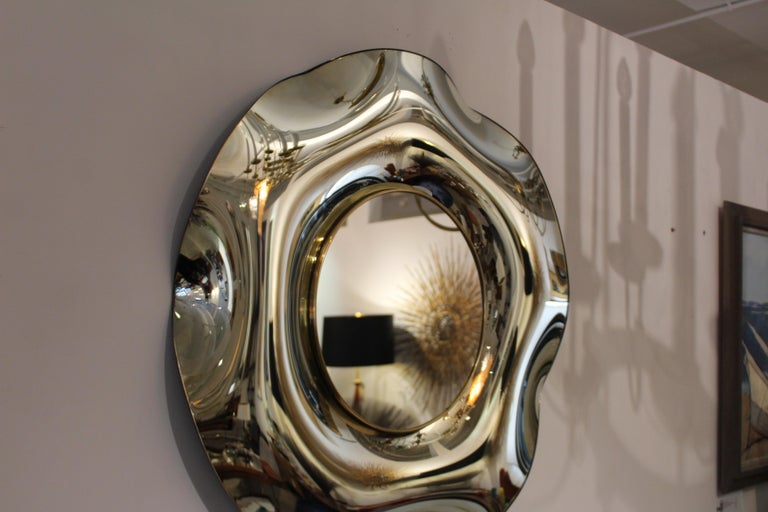 Brass Wave Italian Mirror by Ghiró Studio For Sale