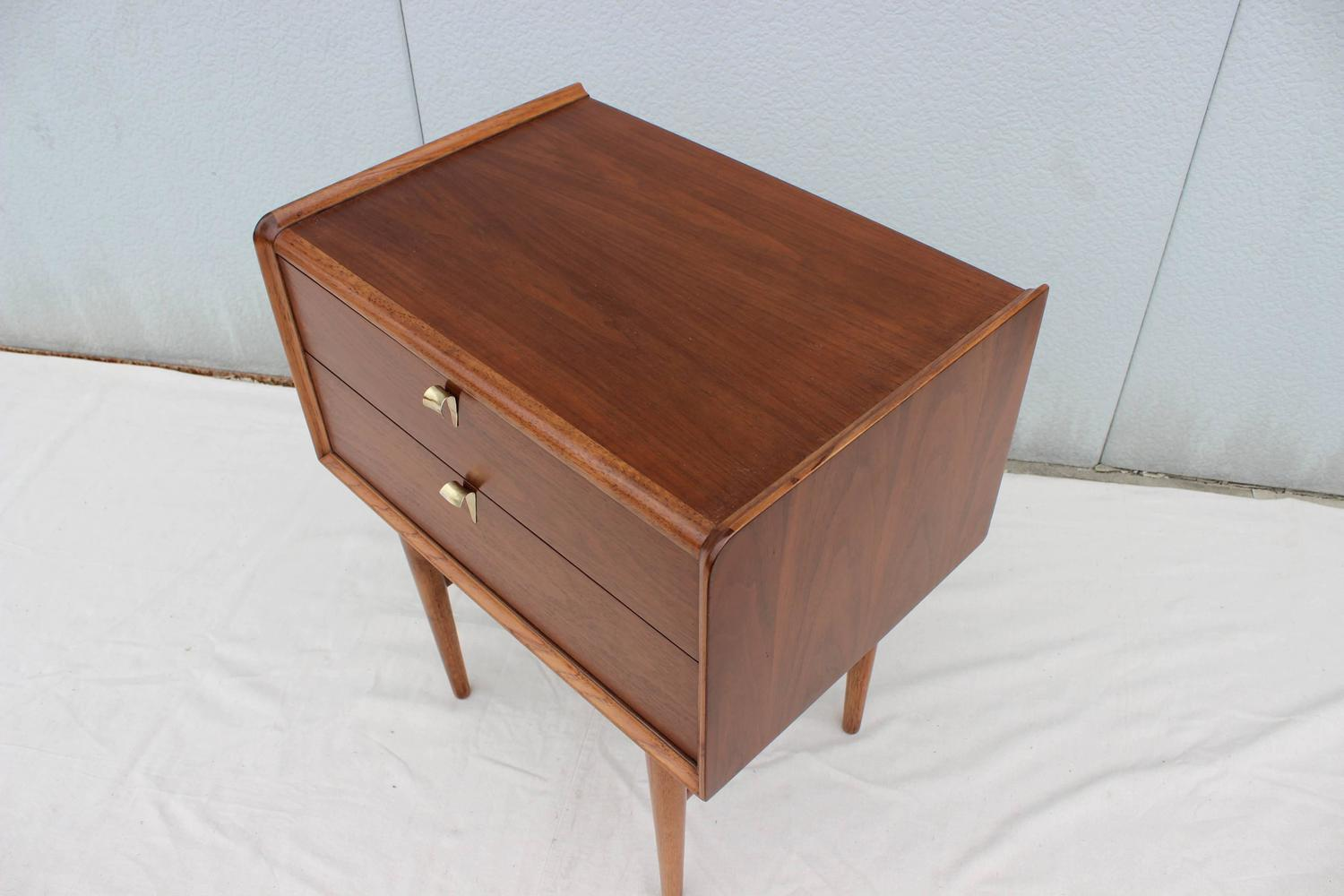 Tall Mid Century Modern Walnut Two Drawer Night Stands For Sale at 1stdibs