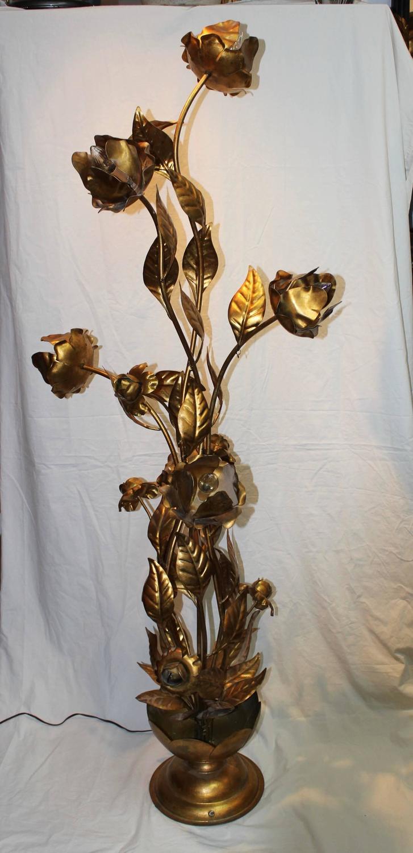 Hollywood Regency Gilt Metal Floral Gold Leaf Floor Lamp At 1stdibs