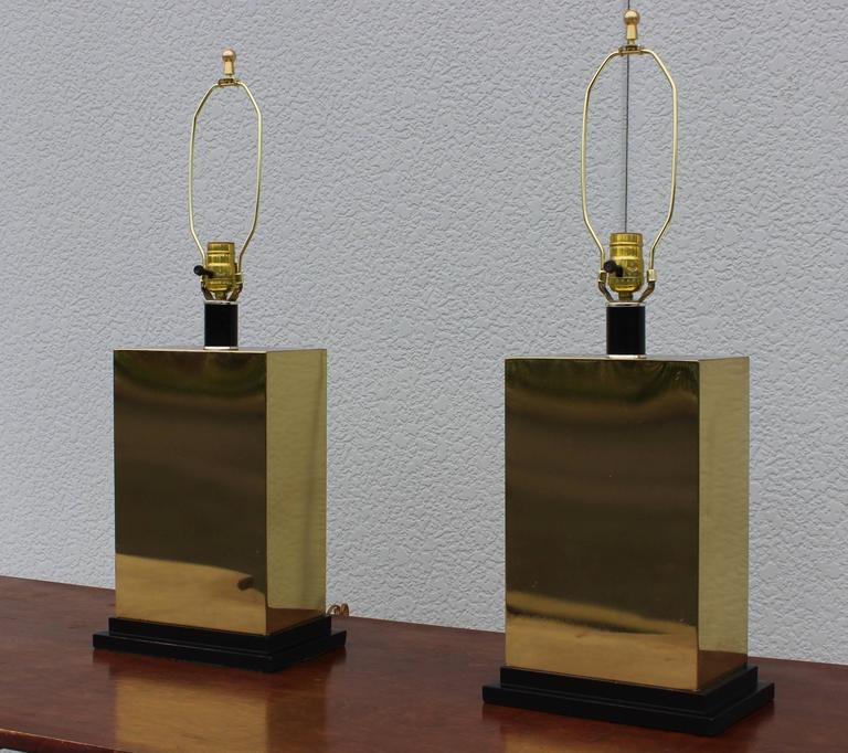 Mid-Century Modern 1970s Modern Brass Table Lamps For Sale