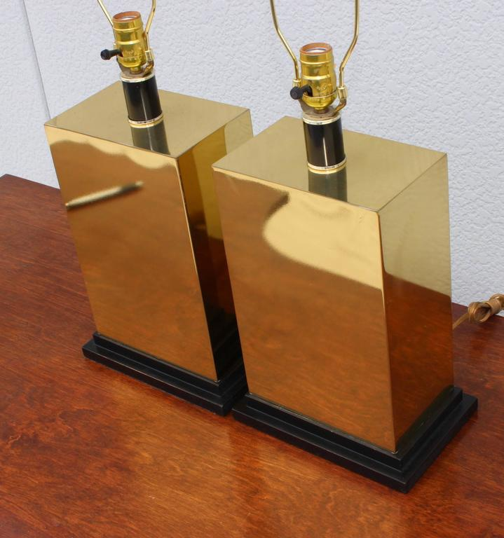 American 1970s Modern Brass Table Lamps For Sale
