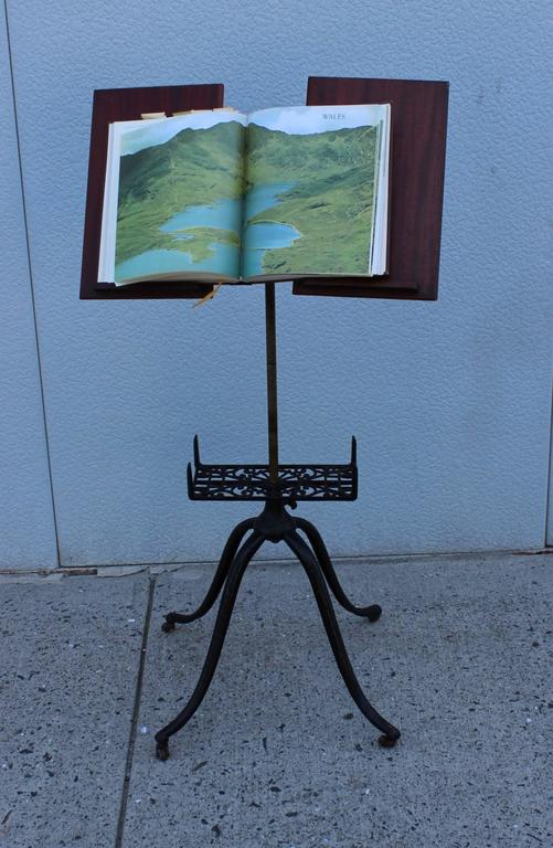 1930s Mahogany And Cast Iron Adjustable Library Book Stand