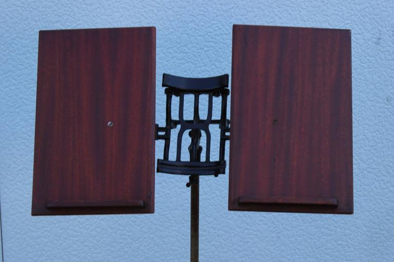 Mid-Century Modern 1930s Mahogany and Cast Iron Adjustable Library Book Stand For Sale