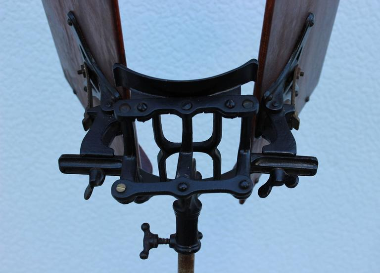 1930s Mahogany and Cast Iron Adjustable Library Book Stand For Sale 1