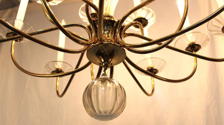 20th Century Lightolier Modern Brass and Cut-Glass Chandelier For Sale