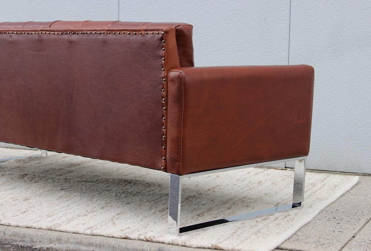 patrician furniture chrome and leather sofa at 1stdibs
