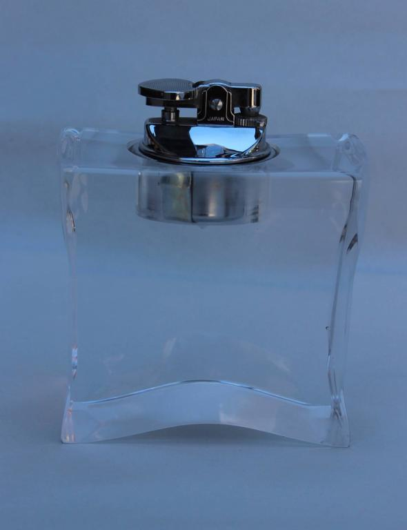 Mid-Century Modern 1970s Lucite Ashtray and Lighter Set For Sale