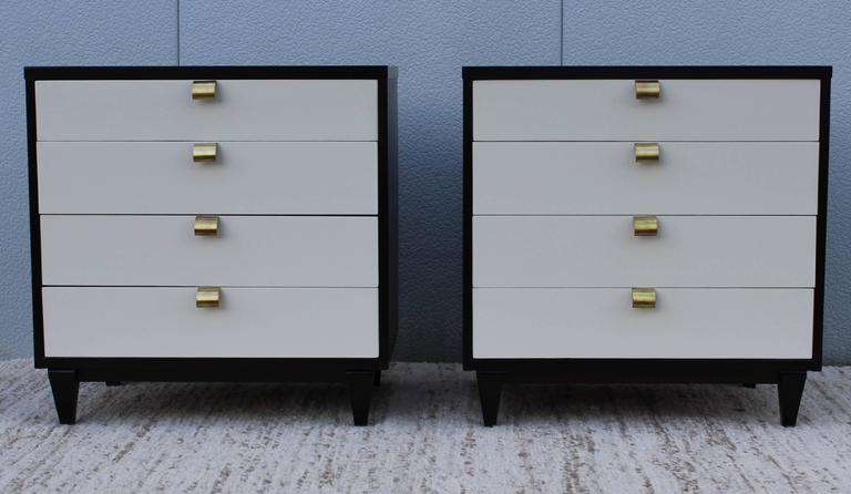 stunning white lacquer nightstand furniture. Stunning Pair Of 1950s Merton Gershun For American Martinsville Four-drawer Bachelor Chest, White Lacquer Nightstand Furniture
