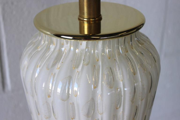 Brass Large Murano Glass Table Lamp For Sale