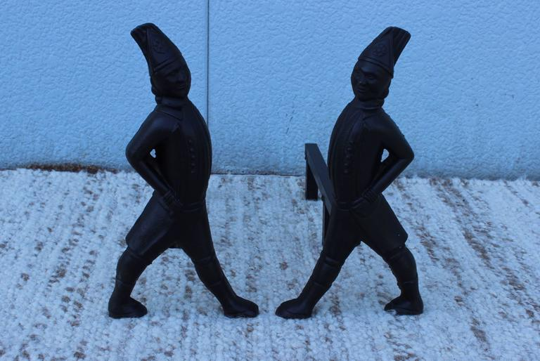 1940s Hessian soldiers cast iron andirons.