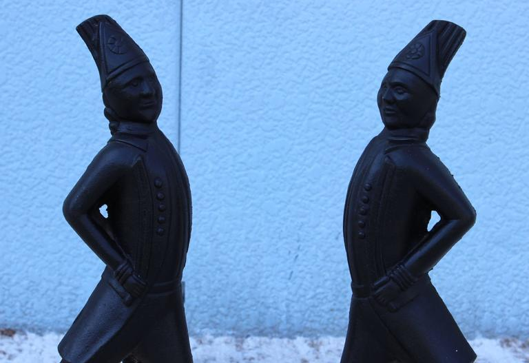 Mid-Century Modern 1940s Hessian Soldiers Andirons For Sale