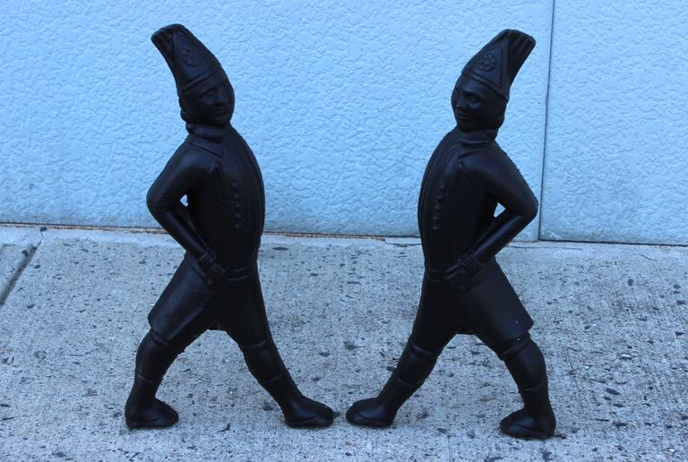 Iron 1940s Hessian Soldiers Andirons For Sale