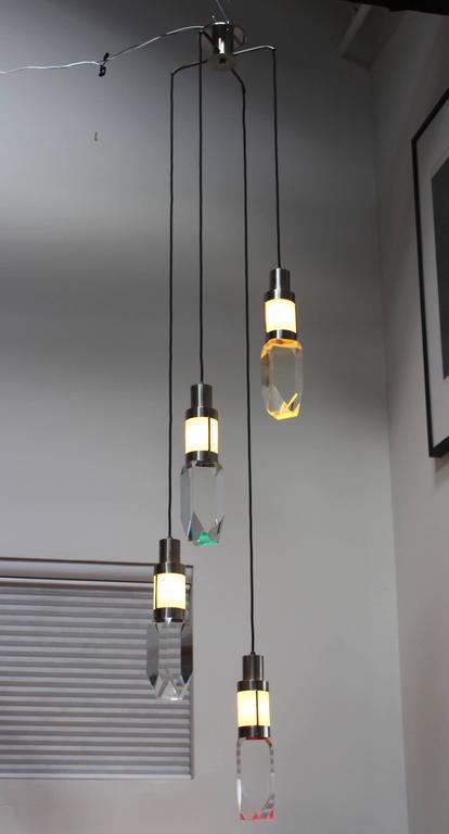 Mid-Century Modern Stilnovo Four Lights Chandelier For Sale