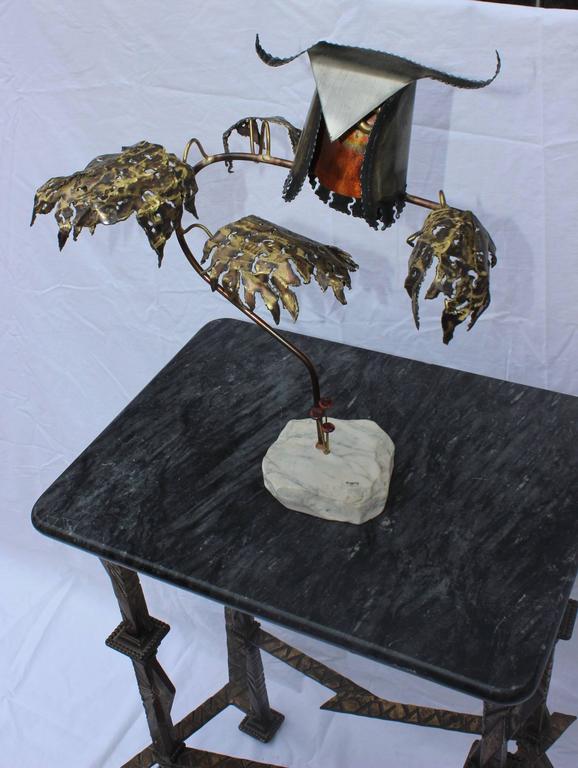 Brass 1960s Brutalist Owl Sculpture by Higgins For Sale