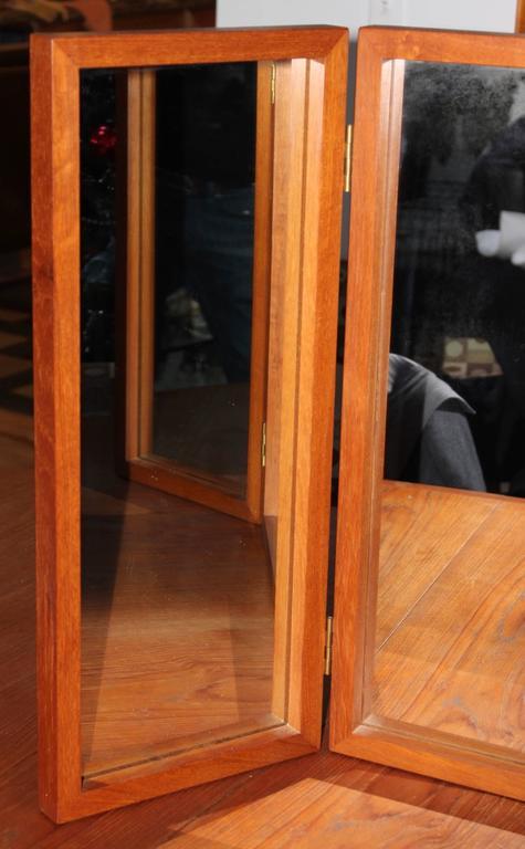 Danish Teak Folding Vanity Or Wall Mirror For Sale At 1stdibs