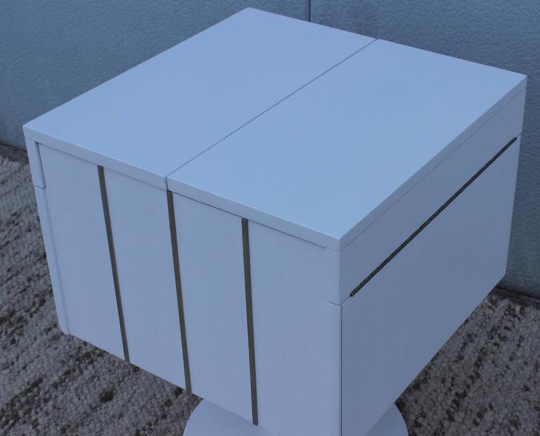 Metal Mid-Century Modern Swivel Bar/Cabinet by Lane For Sale