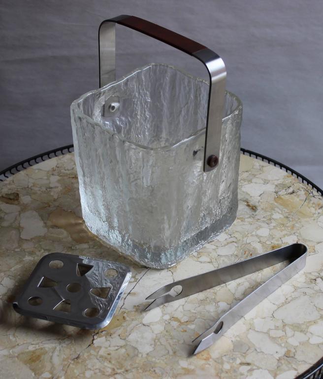 1960s modern glass ice bucket by Hoya Japan.