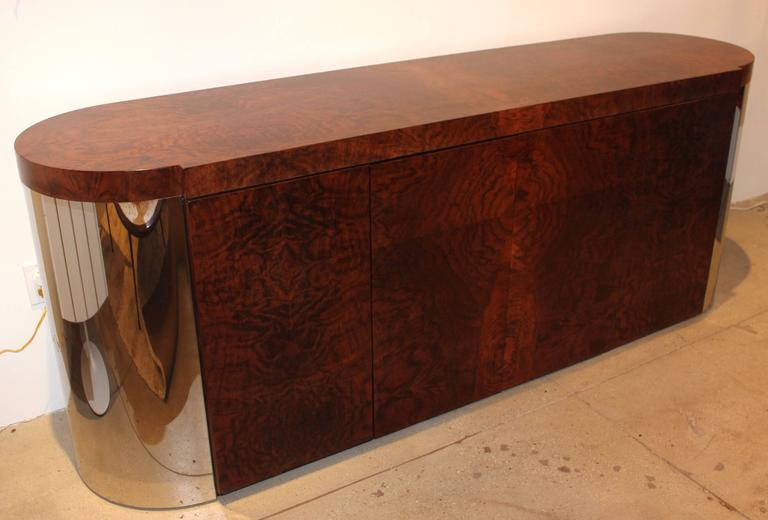 1970s Wood Furniture ~ S burl wood and chrome italian cabinet at stdibs