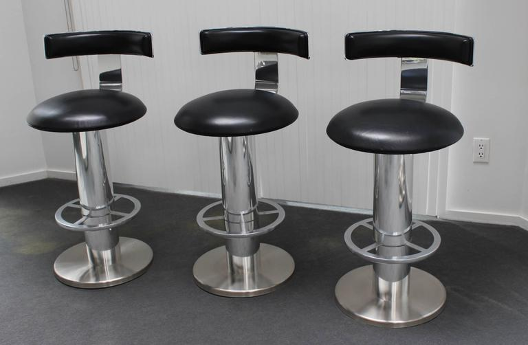 Designs For Leisure Chrome And Leather Bar Stools At 1stdibs