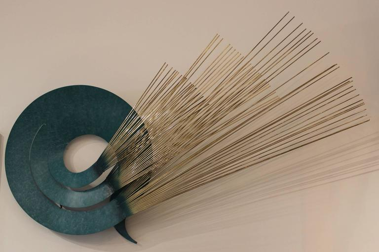 1987 Curtis Jere brass and turquoise wall metal sculpture.