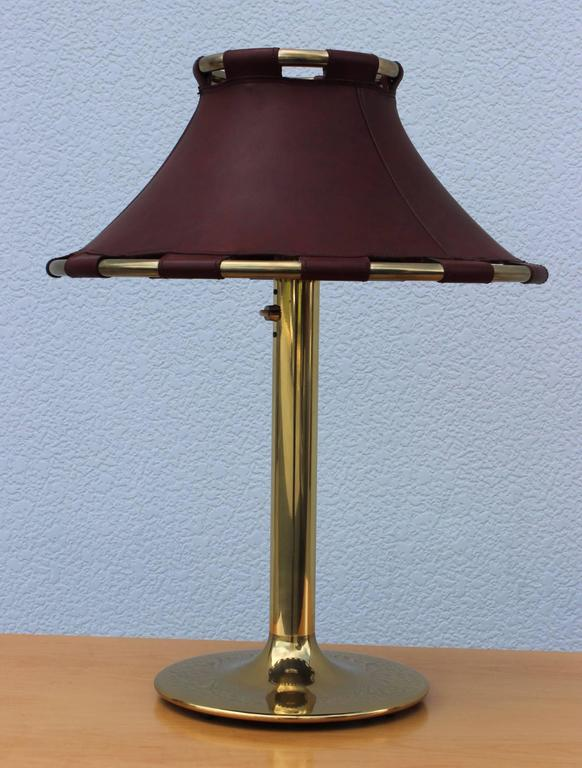 Swedish Brass with Leather Shade Table Lamp by Ateljé ...