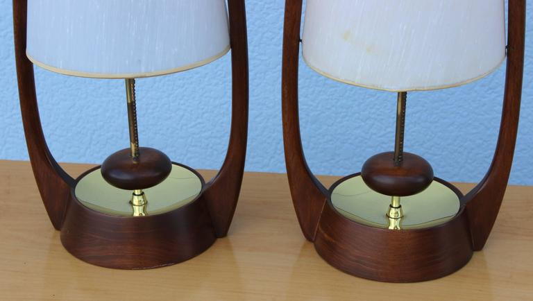 20th Century Mid Modern Walnut Table Lamps By Modeline For