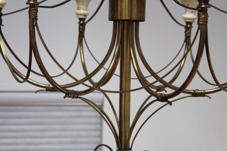 Mid-Century Modern Brass Chandelier For Sale 1