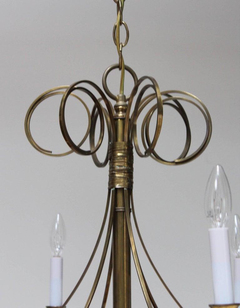 Mid-Century Modern Brass Chandelier For Sale 3