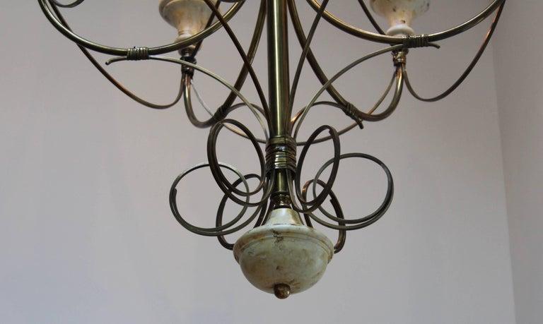Mid-Century Modern Brass Chandelier For Sale 4