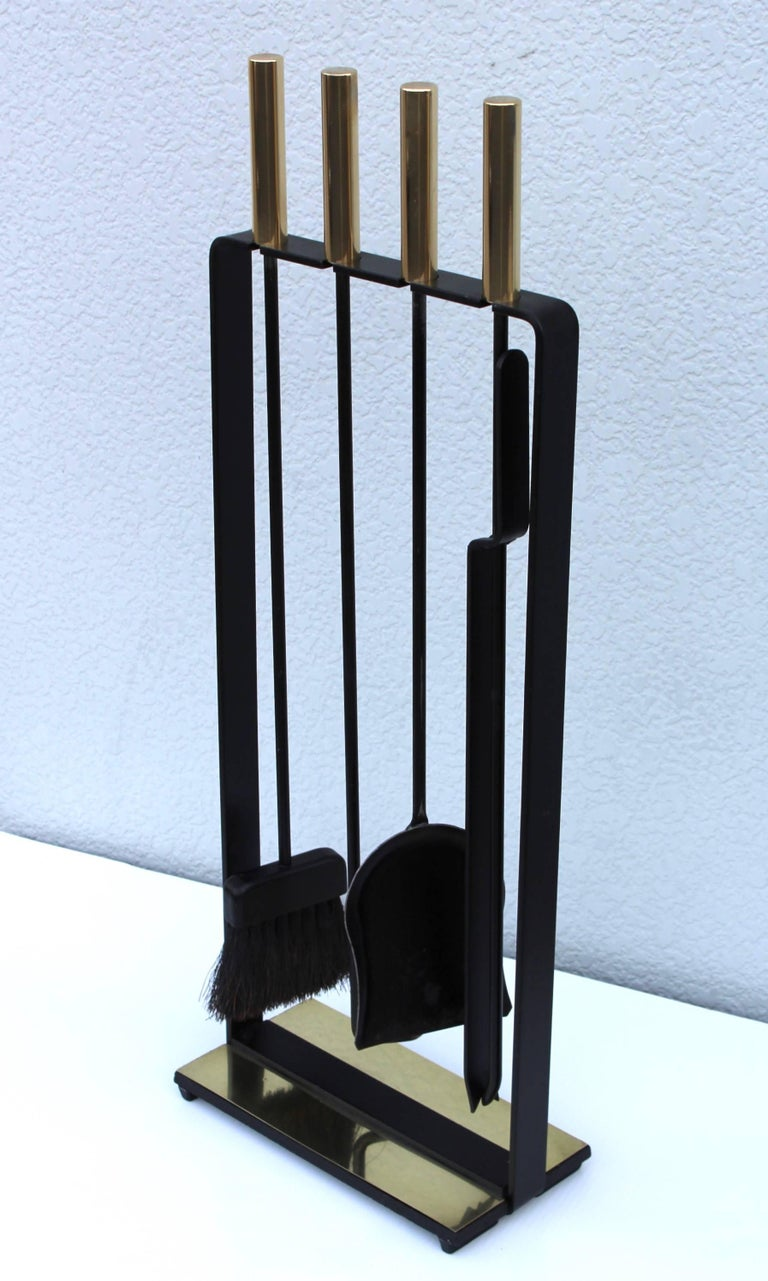 1960s modernist brass and iron fireplace tools by pilgrim for sale