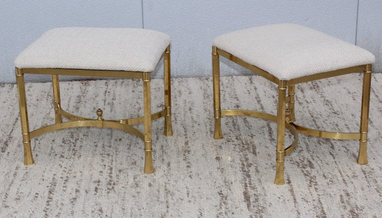1970s Modern Italian Brass Ottomans In Good Condition For Sale In New York City, NY