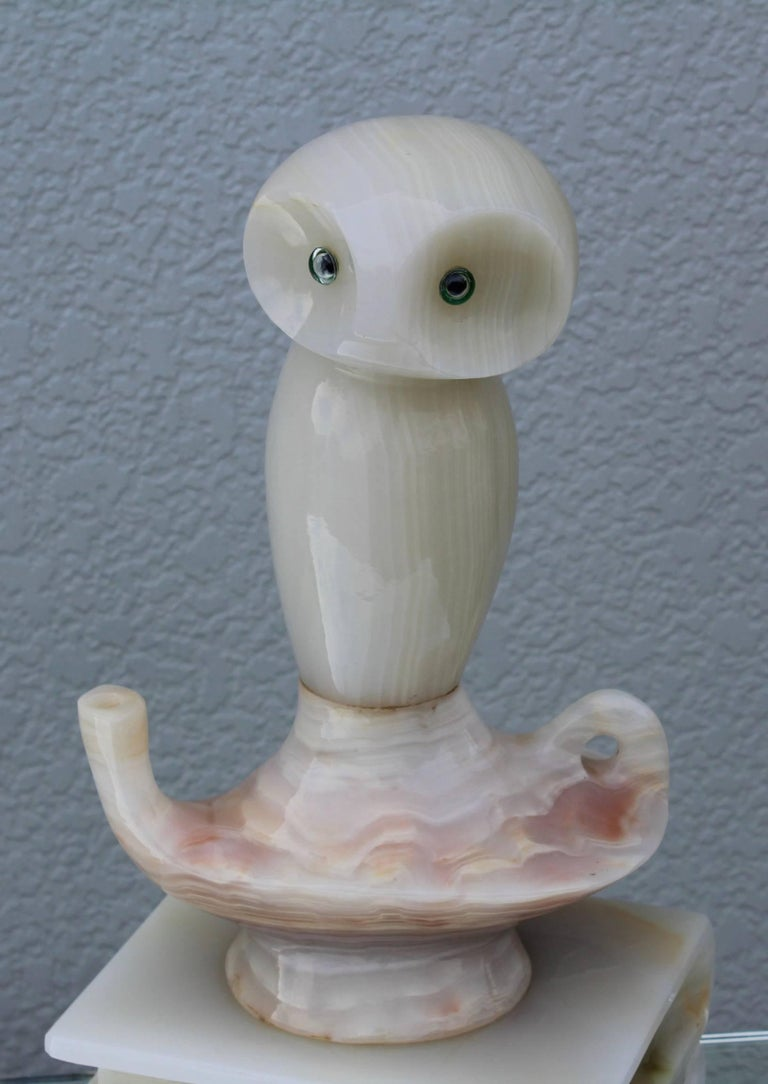 Mid-Century Modern 1950s Italian Alabaster Owl Sculpture For Sale