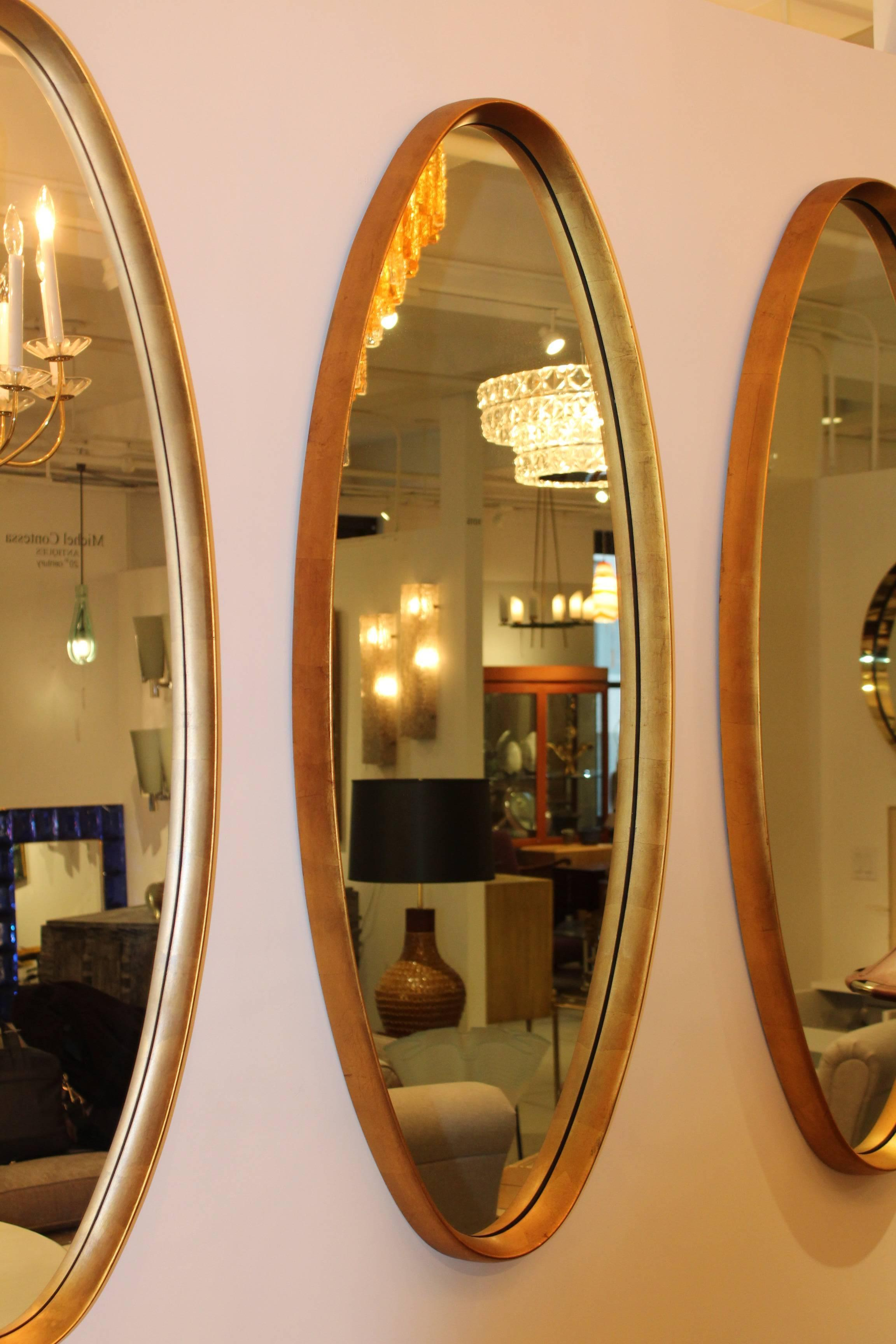 Image of: Mid Century Modern Gold Leaf Oval Mirrors For Sale At 1stdibs