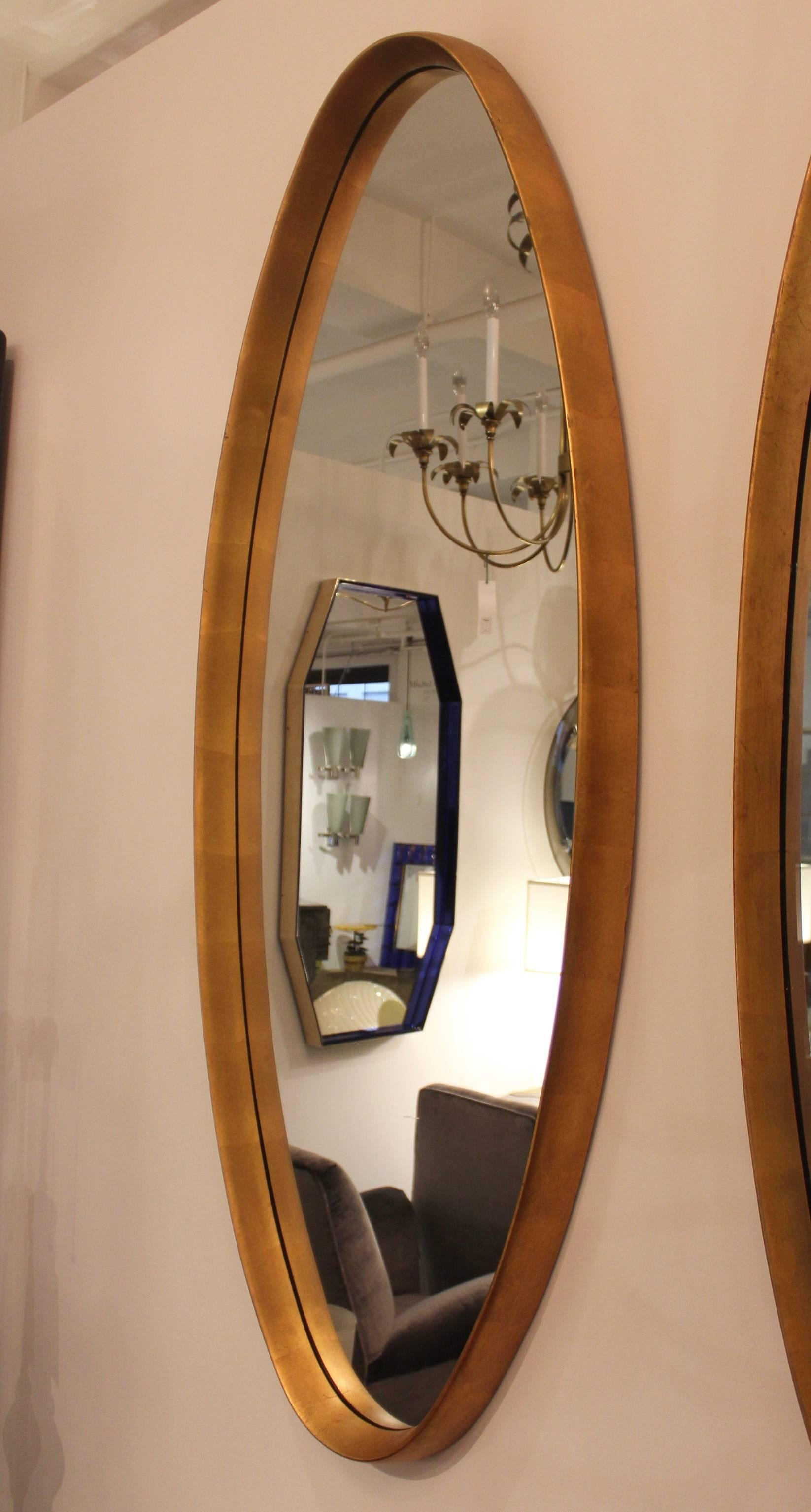 Mid Century Modern Gold Leaf Oval Mirrors For Sale At 1stdibs