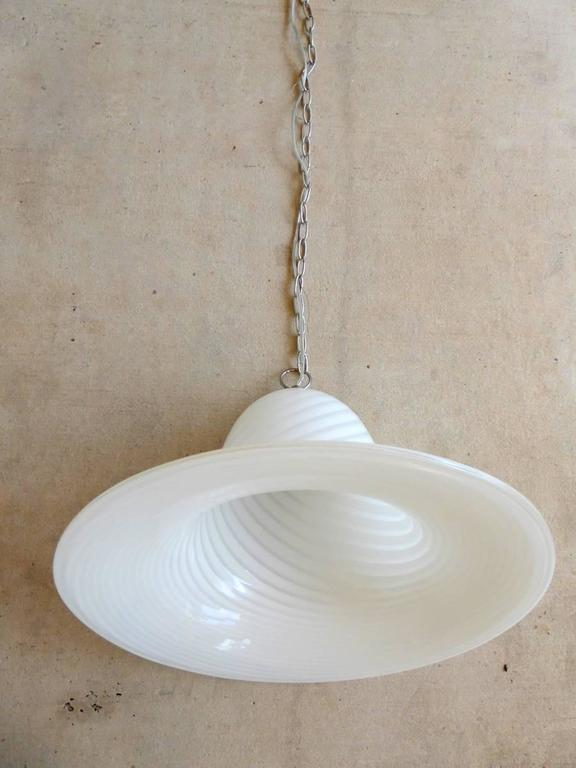 20th Century Large Seguso Style Murano Art Glass Pendant Light Fixture For Sale