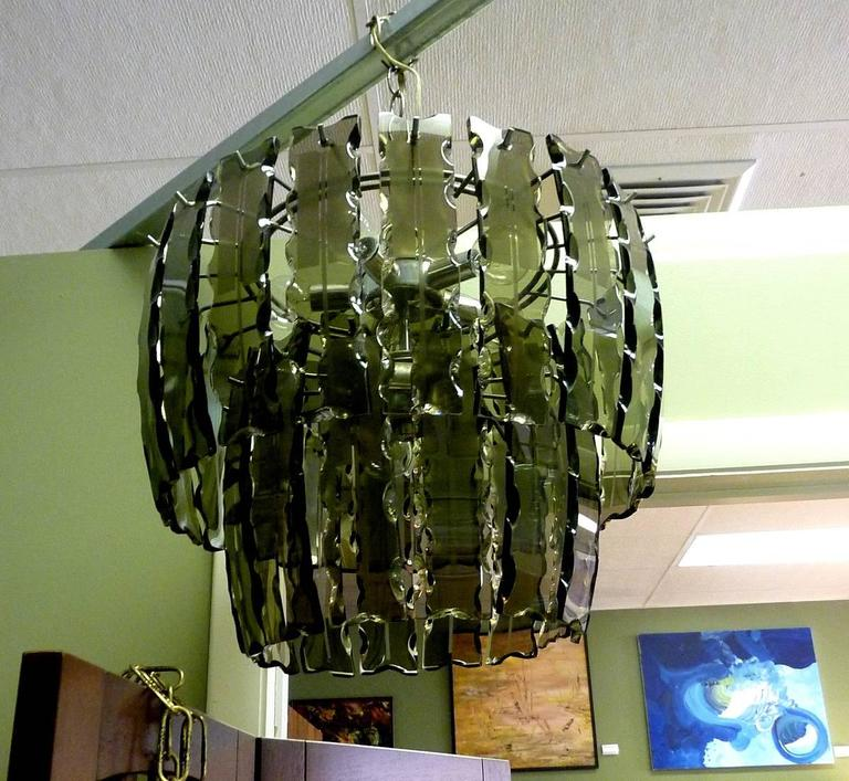 Mid-Century Modern Fontana Arte Smoked Glass Chandelier For Sale