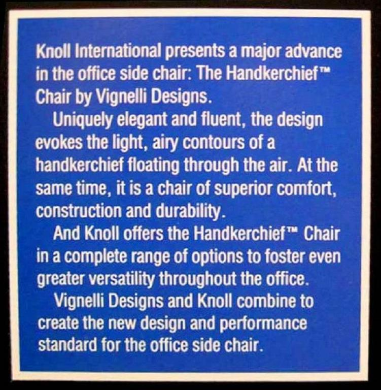 Set of Four Handkerchief Armchairs by Massimo Vignelli for Knoll For Sale 3