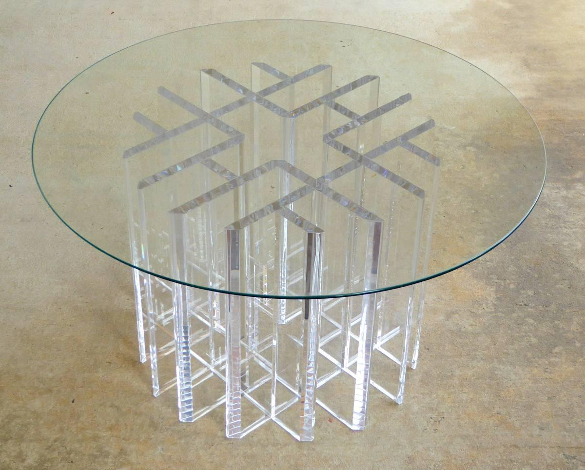 Intricate Lucite Cocktail Table With Round Glass Top For