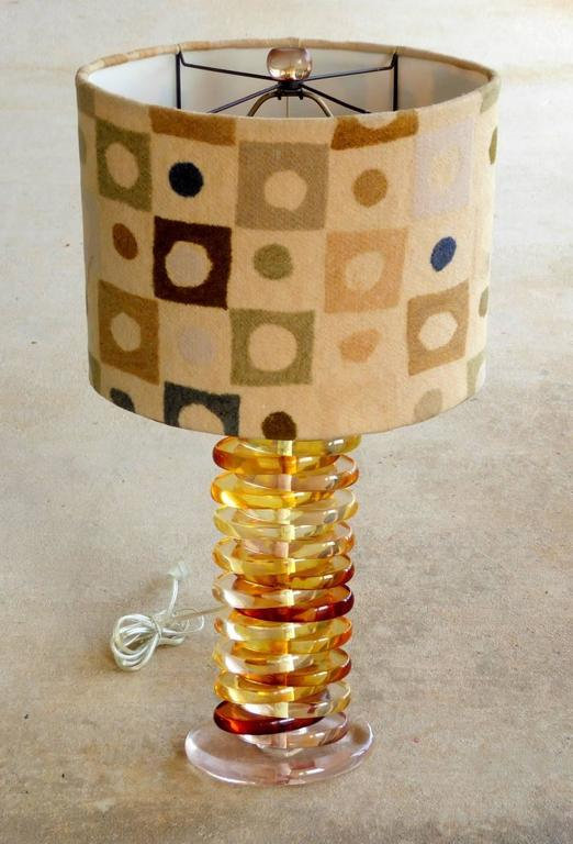 Stacked Oval Table Lamp In Tobacco Lucite For Sale At 1stdibs